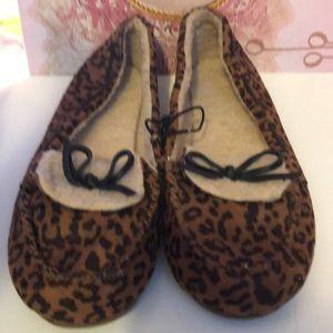 Leopard print slip on shoes size 9-10